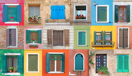 collage of Italian rustic windows