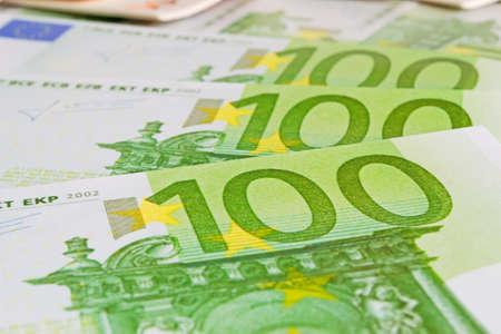 onehundred: close up of a one-hundred euros bills