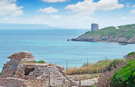 phoenicians: Tharros ruins with San Giovanni tower in the background Stock Photo