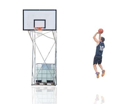 basketball player shooting on white