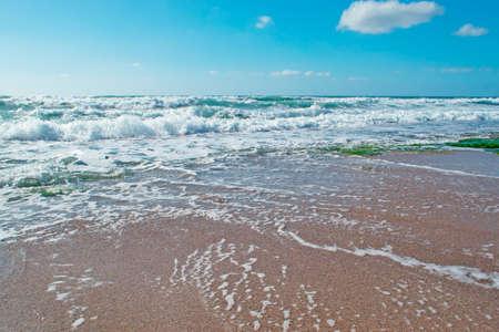 skim: waves in Castelsardo shoreline, Sardinia Stock Photo