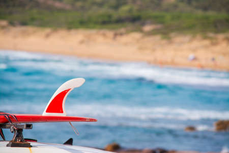 surfboard fin: red surfboard on a car roof by the shore