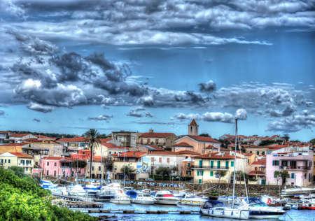 dramatic sky over Stintino harbor, Sardinia photo