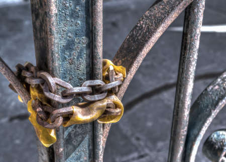 close up of an old chain in hdr tone photo
