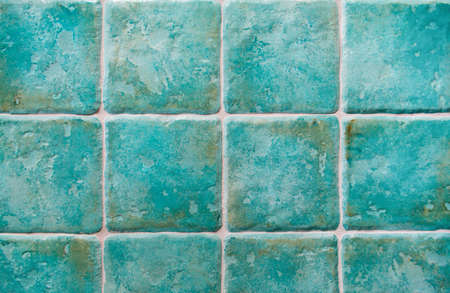 majolica: background made with turquoise tiles Stock Photo