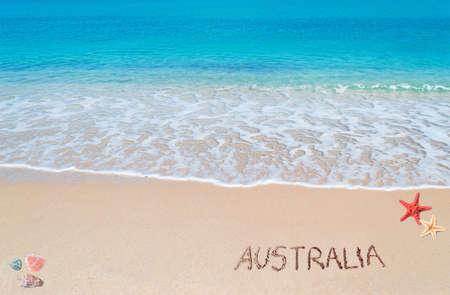 australia written on a tropical beach Stock Photo