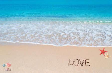 love written on a tropical beach photo