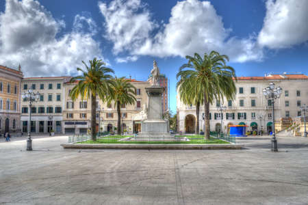 Piazza d'Italia in Sassari, Italy. Heavy processed for hdr tone mapping effect Standard-Bild