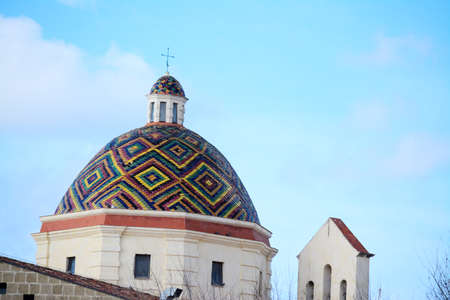 or san michele: San Michele dome under a clear sky. Shot in Alghero, Italy