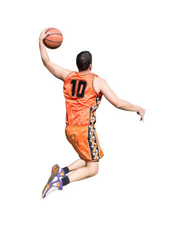 basketball player with orange jersey isolated on white background
