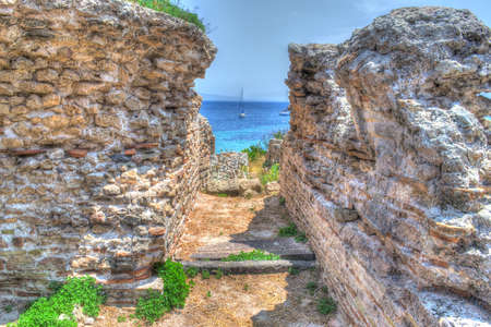 phoenicians: ancient ruins in Tharros, Italy. Processed for hdr tone mapping effect.