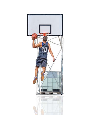 basket ball: basketball player jumping to the hoop Stock Photo
