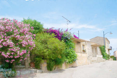 oleander: narrow street in San Pantaleo in water color effect. Stock Photo