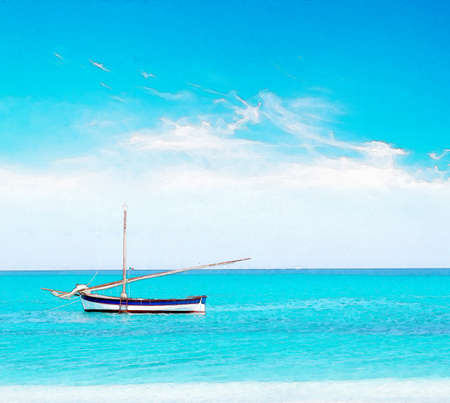 white and blue boat on a calm sea. Water color effect.