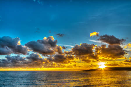colorful sunset in Sardinia in hdr photo