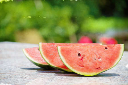 color effect: watermelon slices in water color effect Stock Photo