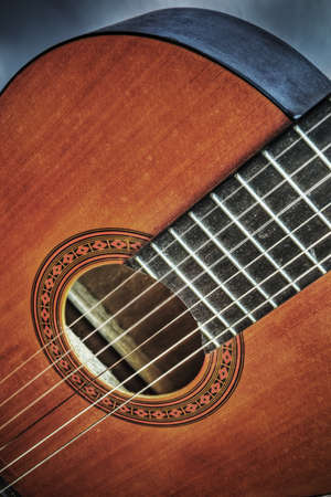 close up of a classic guitar in hdr tone mapping effect
