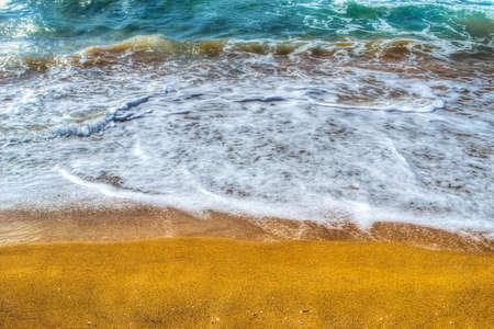 ferro: golden shoreline in Porto Ferro. Processed for hdr tone mapping effect.