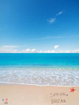 Spring break written on the sand 免版税图像