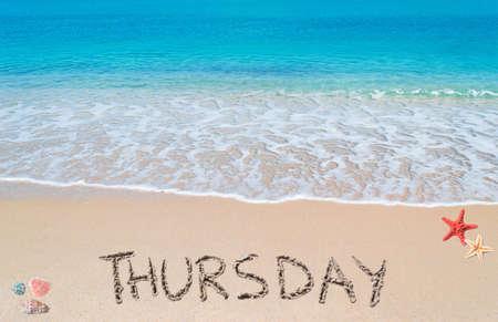 thursday: thursday written on a tropical beach