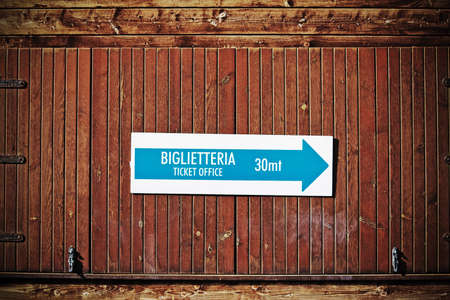 ticket office sign in Italian. Processed for vintage effect photo