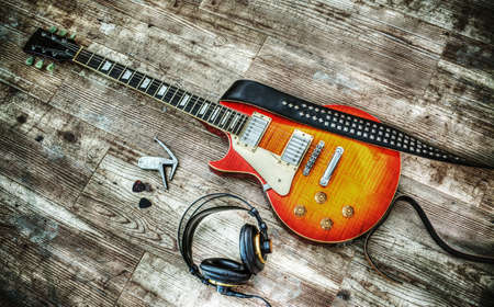 guitar and headphones in hdr tone mapping effect Stock Photo