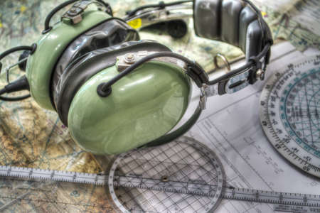 pilot headset and other tools in hdr tone mapping effect Stock Photo