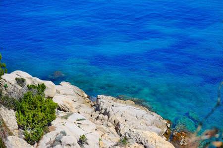 capo: white rocks and blue water in Capo Testa, Sardinia Stock Photo