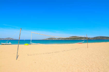 beach volley: beach volley net in Porto Pollo beach, Sardinia Stock Photo