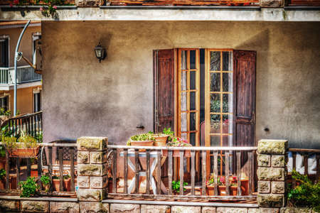 hdr: colorful balcony in hdr tone mapping effect Stock Photo