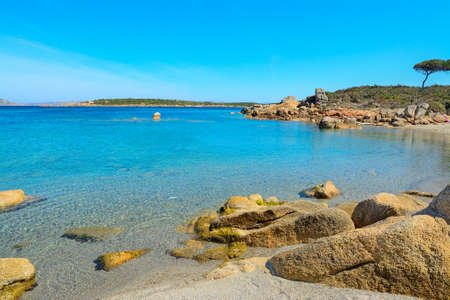 Conca Verde shoreline on a clear day, Sardinia 스톡 콘텐츠