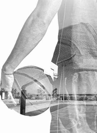 backview: backview of a basketball player holding the ball and a basketball field in double exposure effect in black and white