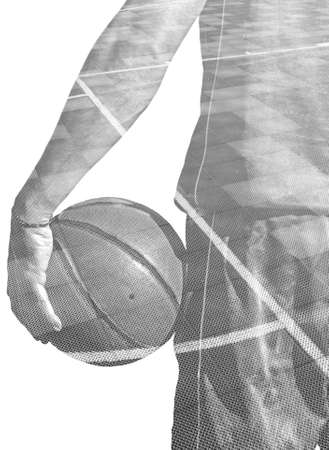 backview: backview of a basketball player holding the ball and a basketball field in double exposure effect