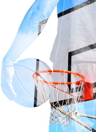 backview: backview of a basketball player holding the ball and hoop in double exposure effect Stock Photo