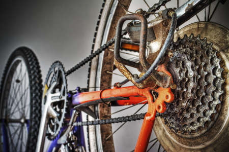 mountain bike rear wheel in hdr tone mapping effect photo