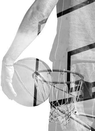 backview: backview of a basketball player holding the ball and hoop in double exposure effect in black and white