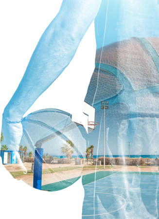 backview: backview of a basketball player holding the ball and playground in double exposure effect