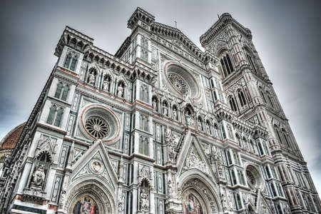 fiore: Santa Maria del Fiore facade in Florence, Italy Stock Photo