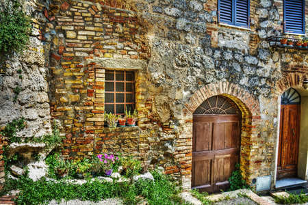 brick wall and flowers in San Gimignano, Tuscany photo