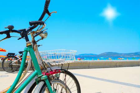 handle bars: vintage bikes by hte sea in Alghero, Italy