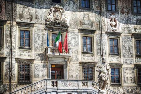 medici: Palazzo della Carovana in Pisa with Cosimo I de Medici statue , Italy
