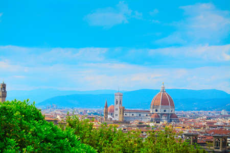 fiore: Santa Maria del Fiore in Florence on a clear springtime day, Italy