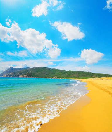 ferro: porto ferro beach on a cloudy day, Sardinia