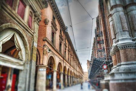 arcades: arcades in Bologna old town, Italy Stock Photo