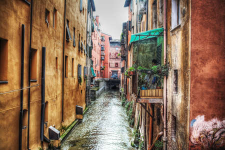 bologna: small canal in Bologna downtown, Italy