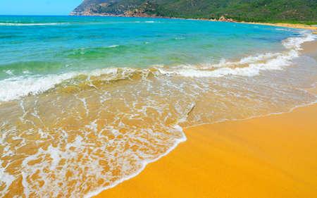 ferro: porto ferro golden shore in Sardinia, Italy Stock Photo