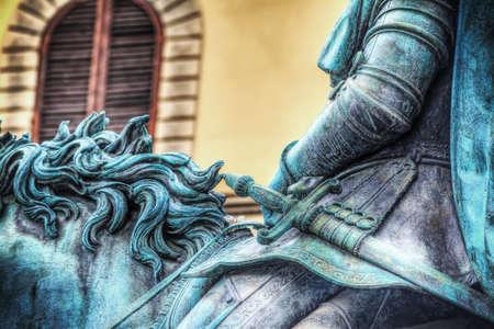 xvi: close up of XVI century Cosimo I statue in Piazza della Signoria in Florence, Italy Stock Photo
