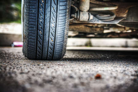 car wheel on the ground seen from behind