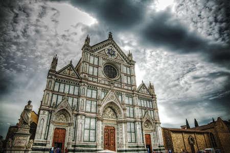 dante alighieri: Santa Croce cathedral and Dante Alighieri statue in Florence, Italy