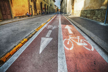 bikeway: bike lane in Florence in hdr tone mapping effect